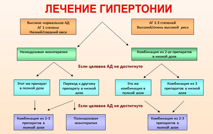 Схема медикаментозной терапии при гипертонии