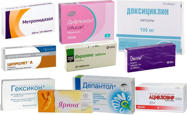 Медикаменты, способные применяться при лечении эрозии шейки матки
